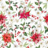 Beautiful vector pattern with nice watercolor christmas flowers