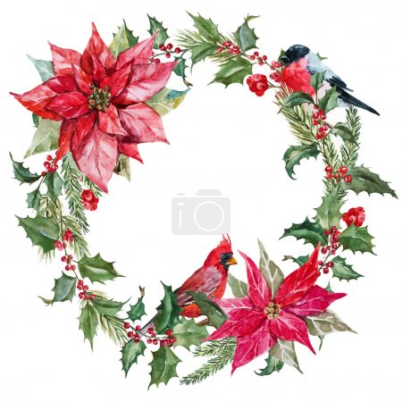Illustration for Beautiful vector image with nice watercolor christmas wreath - Royalty Free Image