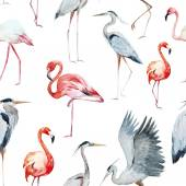 Beautiful vector pattern with nice watercolo r flamngo and heron birds