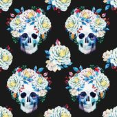 Beautiful vector pattern with nice watercolor skulls and flowers