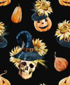Beautiful vector pattern with watercolor skulls on halloween theme