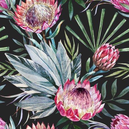 Vector tropical protea pattern