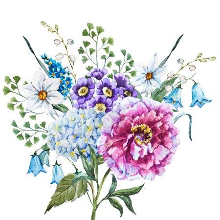 Illustration pour Belle image vectorielle avec des fleurs d'aquarelle dessinées à la main - image libre de droit