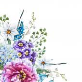 """Постер, картина, фотообои """"вручите оттянутые акварельные цветы"""""""