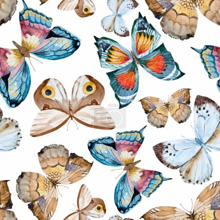 Illustration for Beautiful vector pattern with nice watercolor hand drawn butterflies - Royalty Free Image