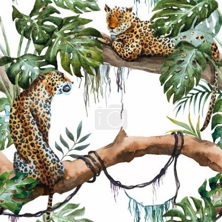 Watercolor vector leopard pattern