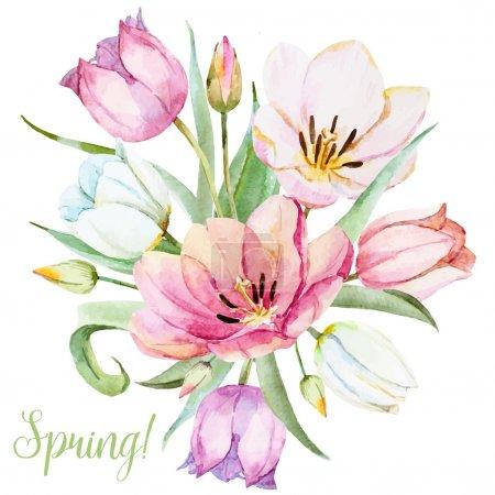 Illustration pour Belle image vectorielle avec de belles fleurs de printemps dessinées à la main aquarelle - image libre de droit