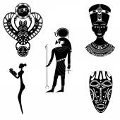 Black - White silhouettes of the ancient god of the Egyptian Ra