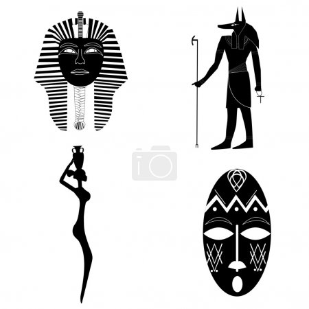 African silhouettes, the mask of pharaoh, Anubis, ...