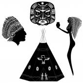 Silhouettes of American Indians