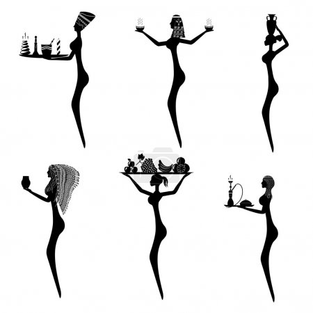 Silhouettes of sexy women in the traditional style of the indige