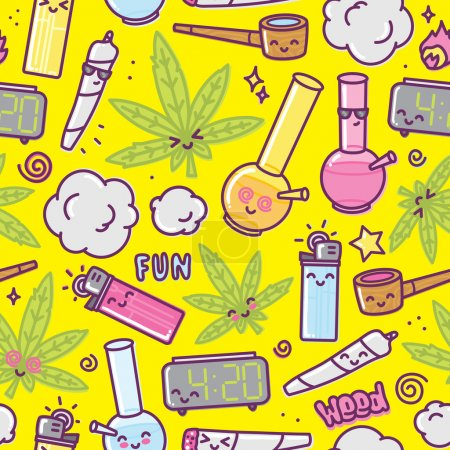 Illustration for Weed kawaii cartoon seamless vector pattern yellow - Royalty Free Image