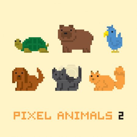 Pixel art style animals cartoon vector set 2