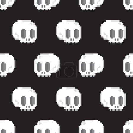 Pixel art style game skull seamless vector background