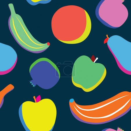 Illustration for Pop art fruits seamless vector pattern - Royalty Free Image