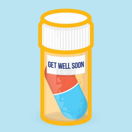 Get well soon healthy vector card