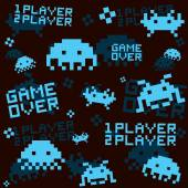 Black space invaders seamless vector pattern