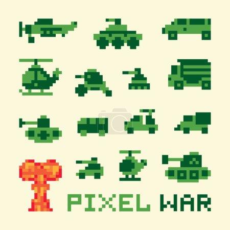 Pixel art war machines set