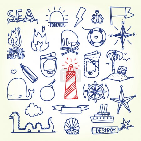 Photo pour Ensemble d'objets vectoriels de tatouage old school dessinés à la main - image libre de droit
