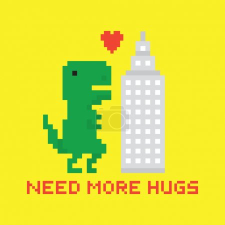 Need more hugs T-rex and skyscraper