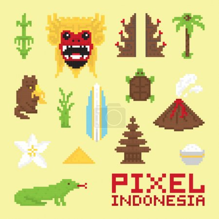 Pixel art Indonesia isolated vector objects