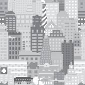 Pixel art city seamless vector pattern