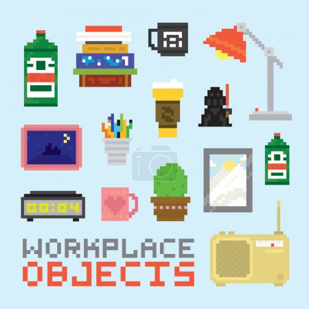 Pixel art isolated office tools vector set