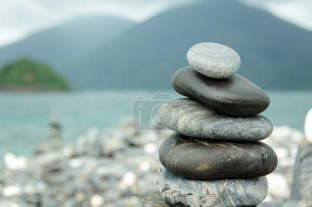 Stones stacked on HIN NGAM Island, TARUTAO National Park, Thailand