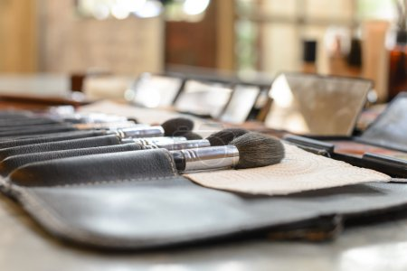 Close-up Various Makeup brushes in leather case