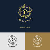 Vector illustration of Line graphics monogram Logo design Flourishes frame ornament template with barrel for logos labels emblems for beer house bar pub brewing company brewery tavern Letter B K M