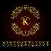 Vintage gold monogram Abstract logo alphabet  Vector template in trendy mono Line style Letter emblem K Design decor for company logo Restaurant Royalty Boutique Cafe Hotel cosmetics