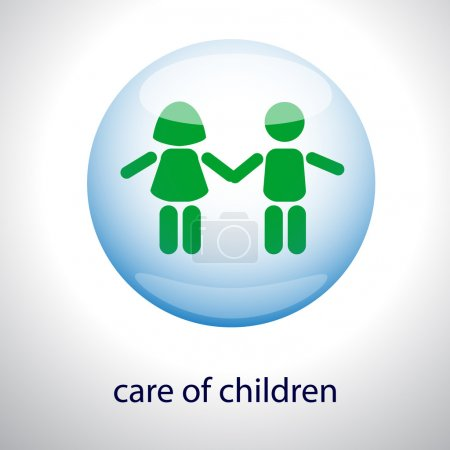 Logo of the care of children - Children in a bubble. Vector illustration