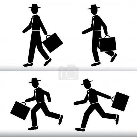 Illustration for Vector illustration of  Silhouette walking and running Businessman.  Men wearing a hat with a suitcase in hand - Vector set - Royalty Free Image