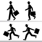 Silhouette walking and running Businessman  Men wearing a hat with a suitcase in hand - Vector set