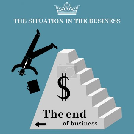 Illustration for Vector illustration of Businessman falls from pyramid. The collapse of business. Bankruptcy - Royalty Free Image