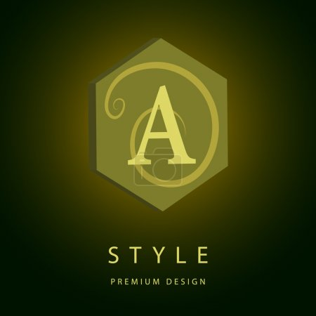 Monogram design elements, graceful template. Elegant line art logo design. Letter A. Emblem. Vector illustration
