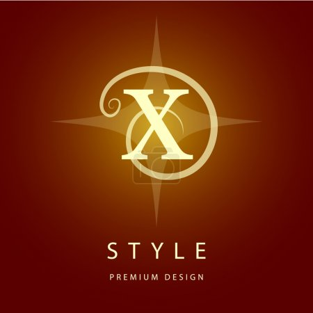 Monogram design elements, graceful template. Elegant line art logo design. Letter X. Emblem. Vector illustration