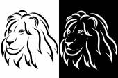 Lion head Black and white silhouette Logo Vector illustration