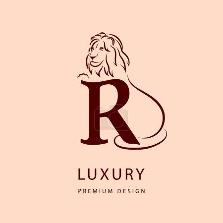 Design elements, graceful template. Elegant line art logo design. Letter R. Emblem. Lion silhouette. Vector illustration