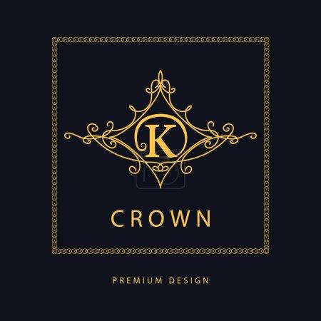 Monogram design elements, graceful template. Elegant line art logo design. Letter K. Emblem. Vector illustration