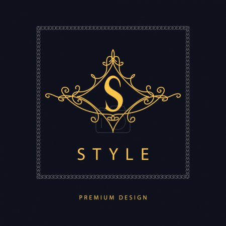 Monogram design elements, graceful template. Elegant line art logo design. Letter S. Emblem. Vector illustration