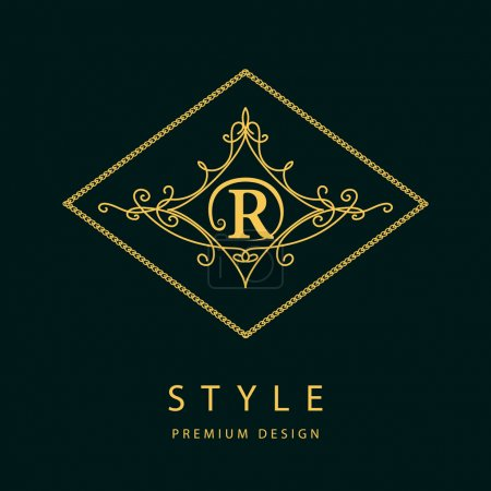 Monogram design elements, graceful template. Elegant line art logo design. Letter R. Emblem. Vector illustration