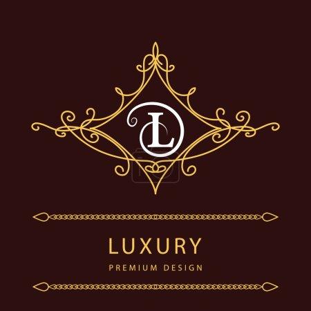 Monogram design elements, graceful template. Elegant line art logo design. Letter L. Emblem. Vector illustration