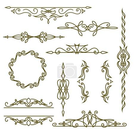 Monogram design elements, graceful template. Elegant line art logo design, frames and borders. Vector illustration
