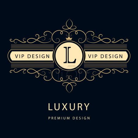 Monogram design elements, graceful template. Elegant line art logo design. Business sign, identity for Restaurant, Royalty, Boutique, Cafe, Hotel, Heraldic, Jewelry, Fashion, Wine. Vector illustration