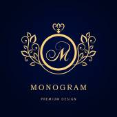 Monogram design elements graceful template Elegant line art logo design Business sign identity for Restaurant Royalty Boutique Cafe Hotel Heraldic Jewelry Fashion Wine Vector illustration