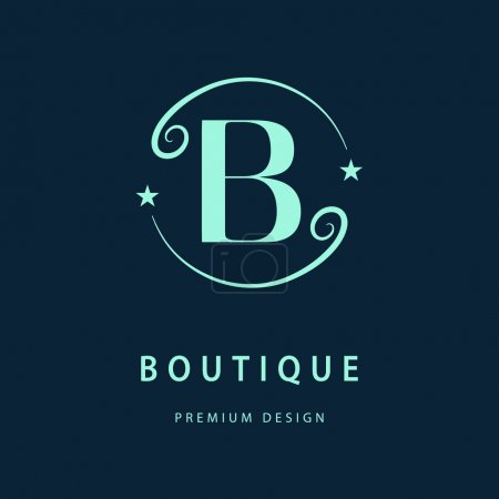 Monogram design elements, graceful template. Elegant line art logo design. Letter B. Business sign, identity for Restaurant, Royalty, Boutique, Cafe, Hotel, Heraldic, Jewelry, Fashion, Wine. Vector