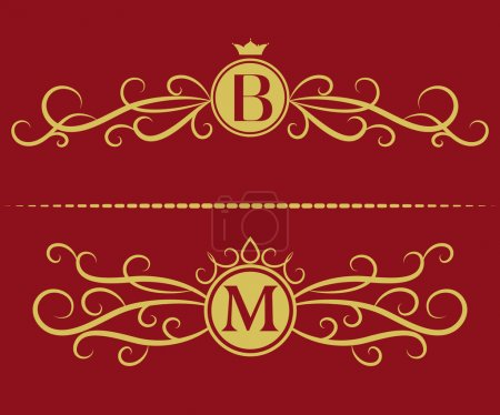 Monogram design elements, graceful template. Elegant line art logo design. Letter B, M. Business sign, identity for Restaurant, Royalty, Boutique, Cafe, Hotel, Heraldic, Jewelry, Fashion, Wine. Vector
