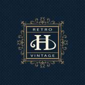 Vector illustration of Monogram design elements graceful template Calligraphic elegant line art logo design Letter emblem H Business sign for Royalty Boutique Cafe Hotel Heraldic Jewelry Wine