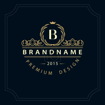 Monogram design elements, graceful template. Calligraphic elegant line art logo design. Letter emblem B for Royalty, business card, Boutique, Hotel, Restaurant, Cafe, Jewelry. Vector illustration